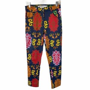 Gretchen Scott Navy Blue Red Print Pants Floral S